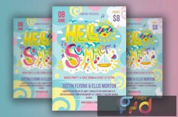Hello Summer Lettering Poster V5Q4J7B 1