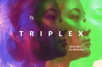 Triplex Glitch Photo Effect ME4UQCZ 1