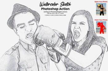 Watercolor Sketch Photoshop Action 5717421 3