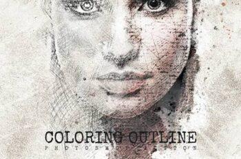 Coloring Outline Photoshop Action BN6GQTQ 4