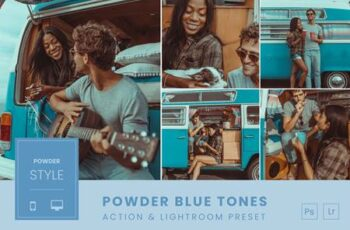 Powder Blue Tones Action & Lightroom Preset NB7NZ9N 3