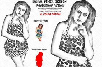 Digital Pencil Sketch PS Action 6284365 2