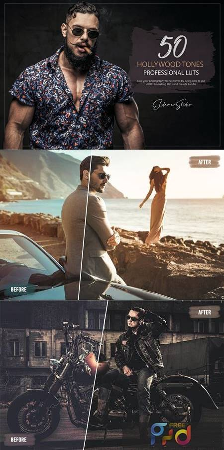 50 Hollywood Tones LUTs and Presets Pack 8488XQF 1