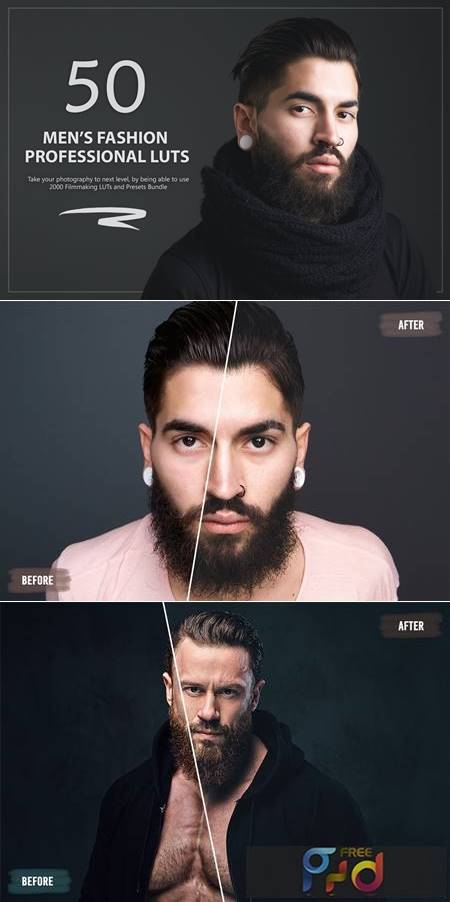 50 Men's Fashion LUTs and Presets Pack W78SFC8 1