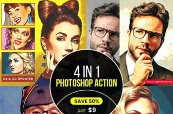 4 in 1 Cartoon Oil Painting PS Action Bundle 33521544 4