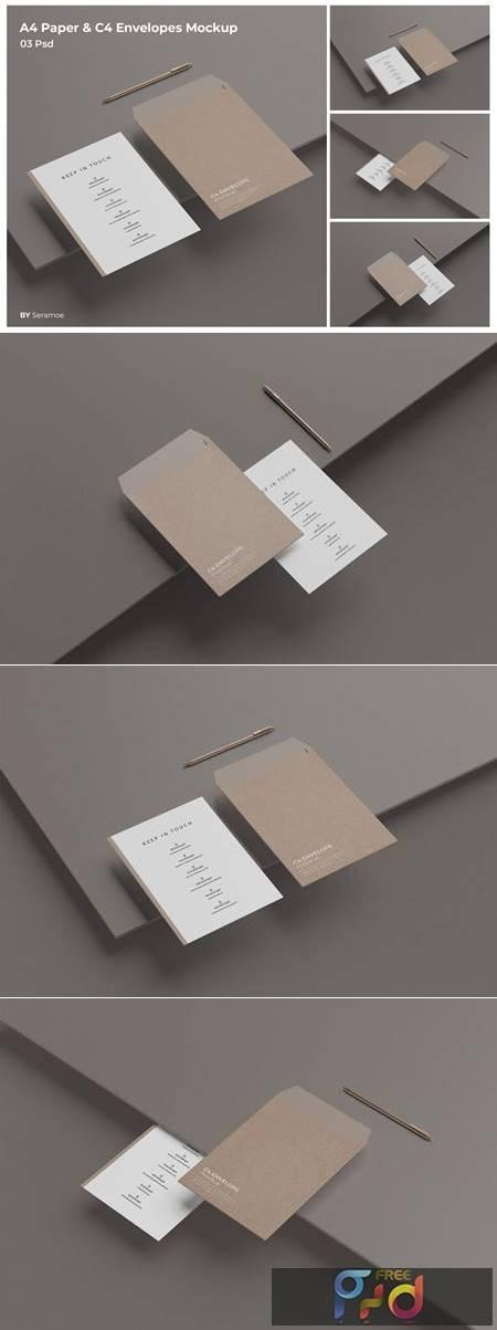 A4 Paper & C4 Envelopes Mockup Q9PV3GK 1