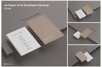 A4 Paper & C4 Envelopes Mockup Q9PV3GK 3