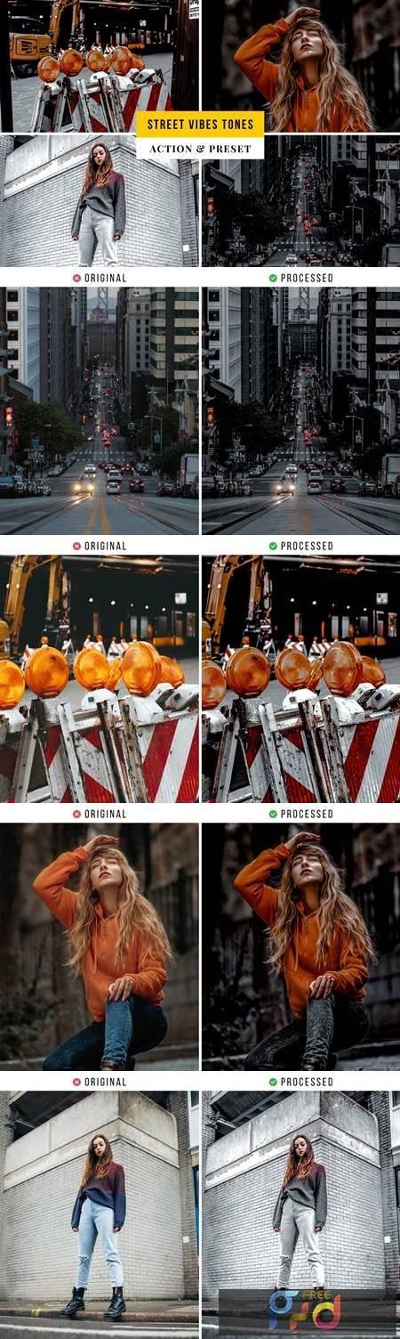 Street Vibes Tones Action & Lightroom Preset 362XUPP 1