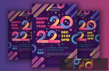 Modern Happy 2022 New Year Poster JYY5474 4