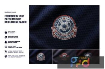 Embroidery logo patch mockup on clothing fabric CRT7ZDZ 5