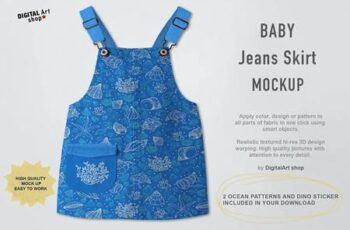 Baby Jeans Skirt Mock Up 6381098 8