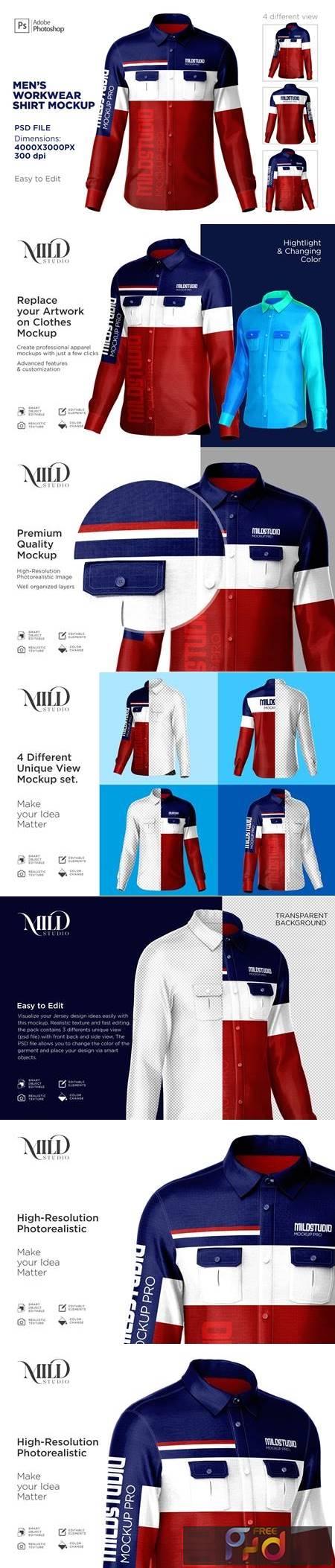 Mens workwear shirt set mockup 6359632 1
