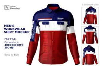 Mens workwear shirt set mockup 6359632 6