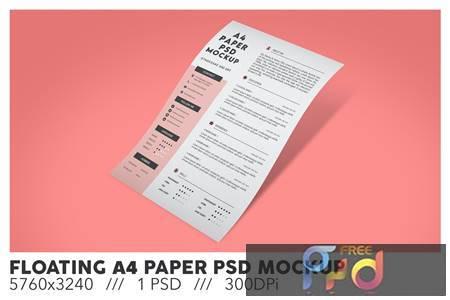 Floating A4 Paper PSD Mockup HUH24SD 1