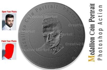Medallion Coin Portrait PS Action 6530547 4