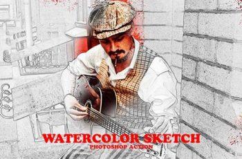 Watercolor Sketch Photoshop Action 6317739 1